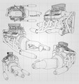 a set of several types of powerful car engine the vector image