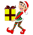 Christmas elf holding a gift vector image