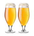 Beer in glass with drops vector image vector image