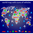 world map with icons vector image vector image