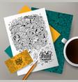 cartoon doodles india corporate identity set vector image