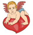Cupid baby heart color vector image