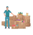 Delivery move service man near craft boxes Cargo vector image