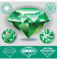 Green diamond emerald gemstone vector image