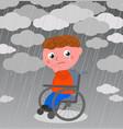 very sad boy in wheelchair vector image
