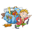 The Boy Goes to School vector image vector image