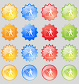 Tennis player icon sign Big set of 16 colorful vector image