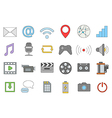 Multimedia colorful icons set vector image vector image