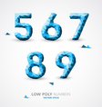 low poly numbers font vector image vector image
