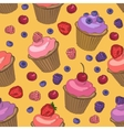 Cupcakes and berries seamless pattern vector image