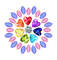 Colored marquise heart cut gems vector image