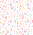 Cupcakes outlined colorful seamless pattern on vector image