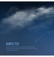 Night background clouds and shining stars vector image