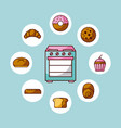 oven appliance kitchen with differents bread cake vector image