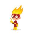 superhero fire boy character cartoon vector image