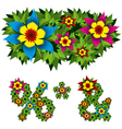 Flowers alphabet 14 vector image
