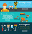 building tools banner horizontal set flat style vector image