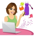 beautiful woman shopping online vector image