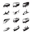 Road sea and space transportation icons set vector image vector image