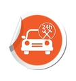 car with tools icon orange label vector image