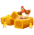 A hen with her eggs and chicks vector image vector image