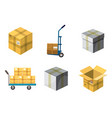 box icon set cartoon style vector image