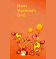 paperart valentine day with chicken vector image