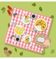 Picnic in park with dishes and cutlery vector image