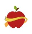red apple with yellow measurement tape vector image