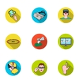 Virtual reality set icons in flat style Big vector image