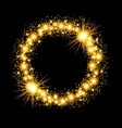 gold glow glitter circle frame with stars on black vector image