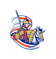 English Knight England Flag Shield Horse Retro vector image vector image