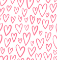 Hand drawn doodled hearts seamless pattern vector image vector image