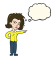cartoon woman pointing with thought bubble vector image