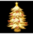 Gold Christmas tree with toys on black background vector image