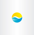 water wave and sun tourism logo element vector image