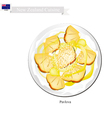 Pavlova Meringue Cake With Pineapple New Zealand vector image