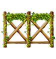 Fence design with wooden fence and vine vector image