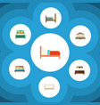 flat bed set of bedroom furniture bearings and vector image