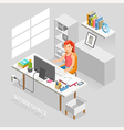 Work Space Isometric Flat Style vector image