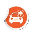 car with vacuum cleaner icon orange label vector image