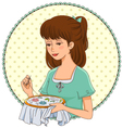 embroidering girl vector image