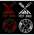 Hot BBQ grill labels collection vector image