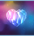 low poly crystal heart vector image