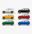 set of different colors terrain cars white vector image