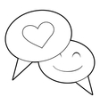Speech bubble heart icon outline style vector image