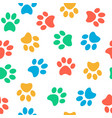 seamless colorful animal paw pattern on white vector image vector image