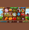 free games screen in farm style vector image vector image