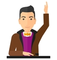 Man raising his hand vector image