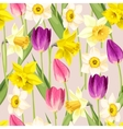 Vintage tulip and daffodil seamless vector image